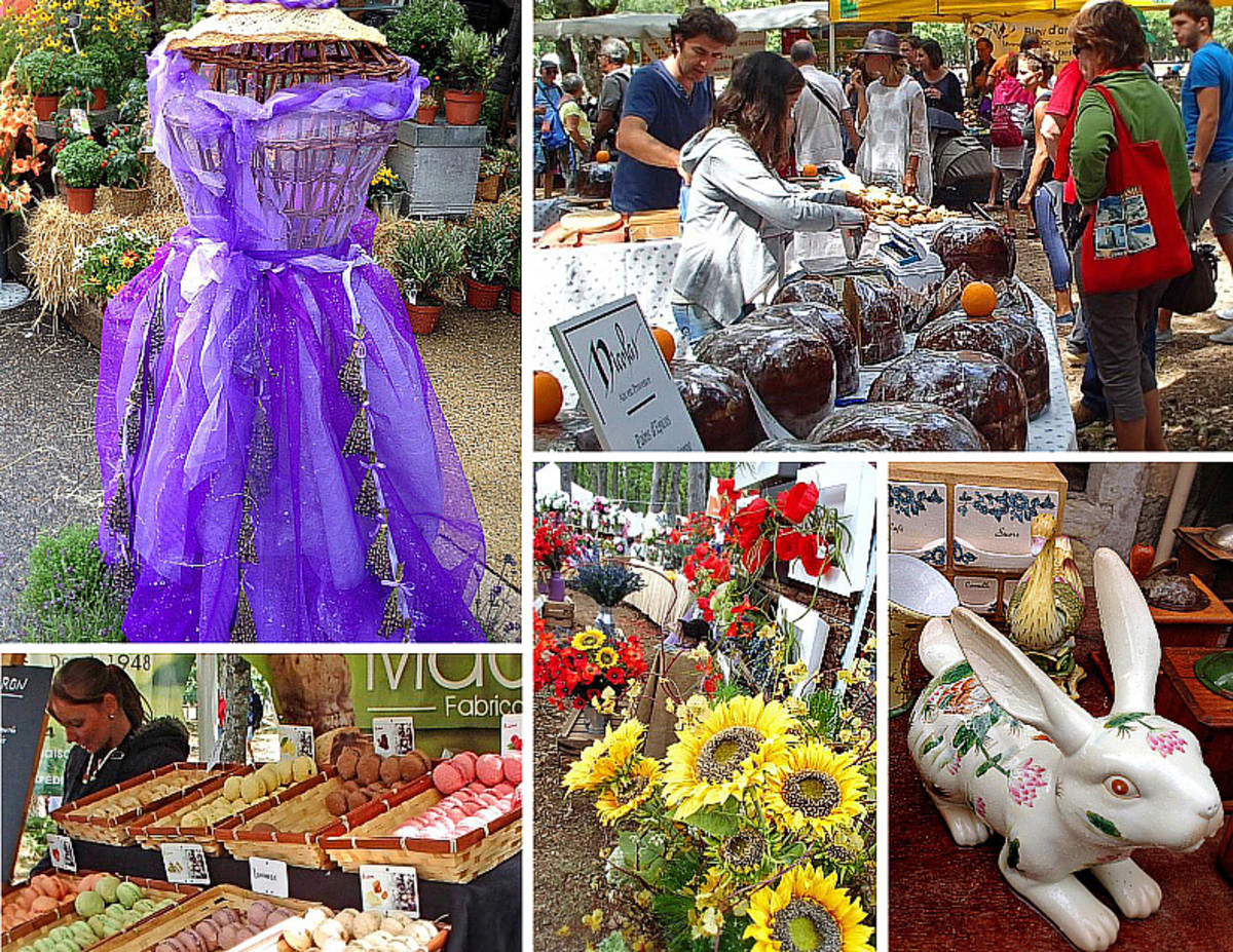Clockwise from top left: lavender-inspired fashion; country-style breads; antique ceramics; sunflowers and poppies; macarons and sweets vendor.