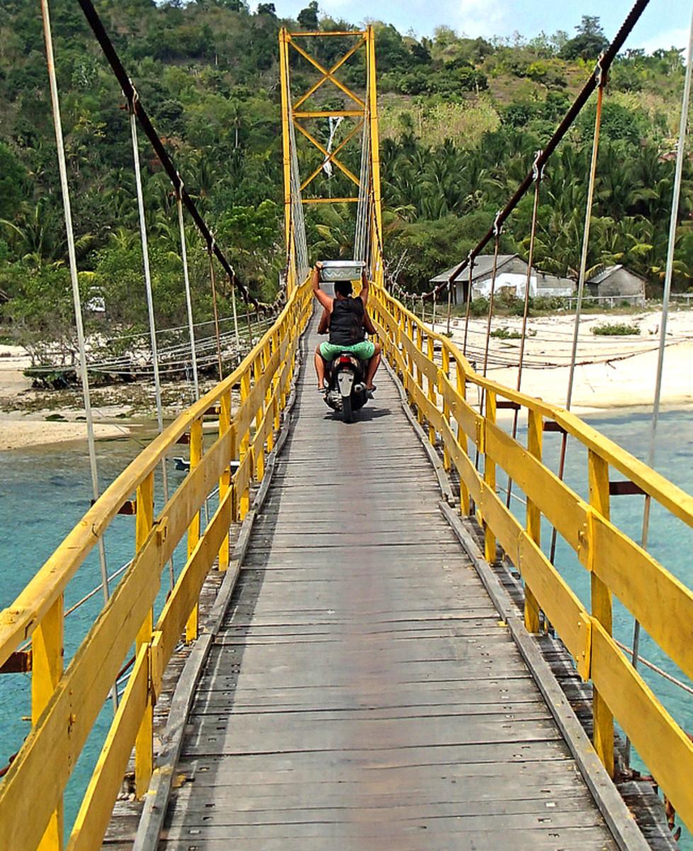 Suspension bridge connects Nusa Lembongan island and Nusa Ceningan island.