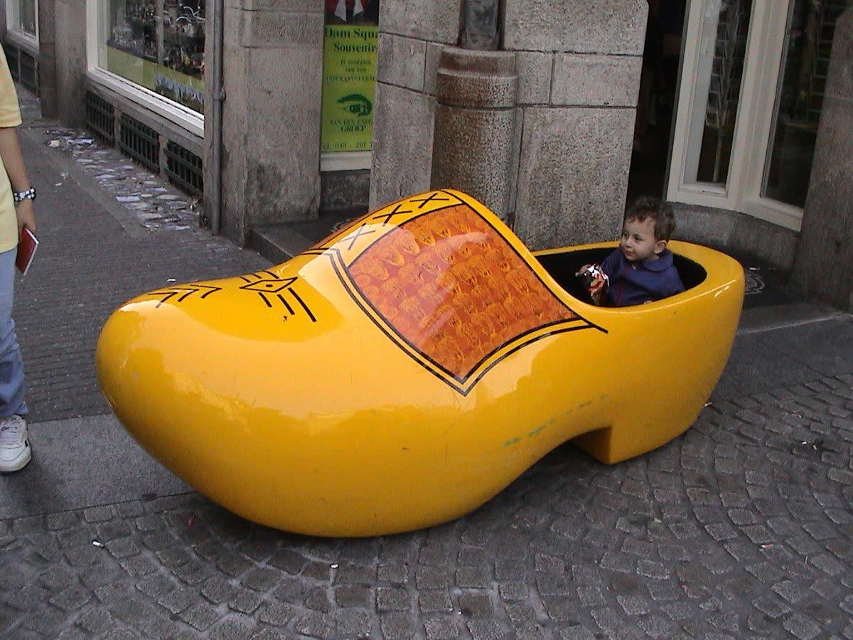 Boy in giant clog, Amsterdam