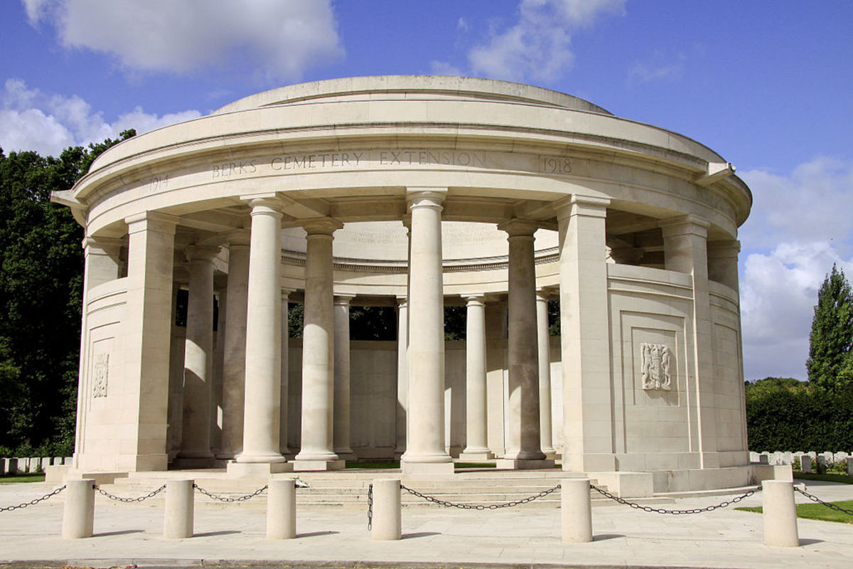 The Ploegsteert Memorial where the names of 11,447 men are inscribed to honor their sacrifice.
