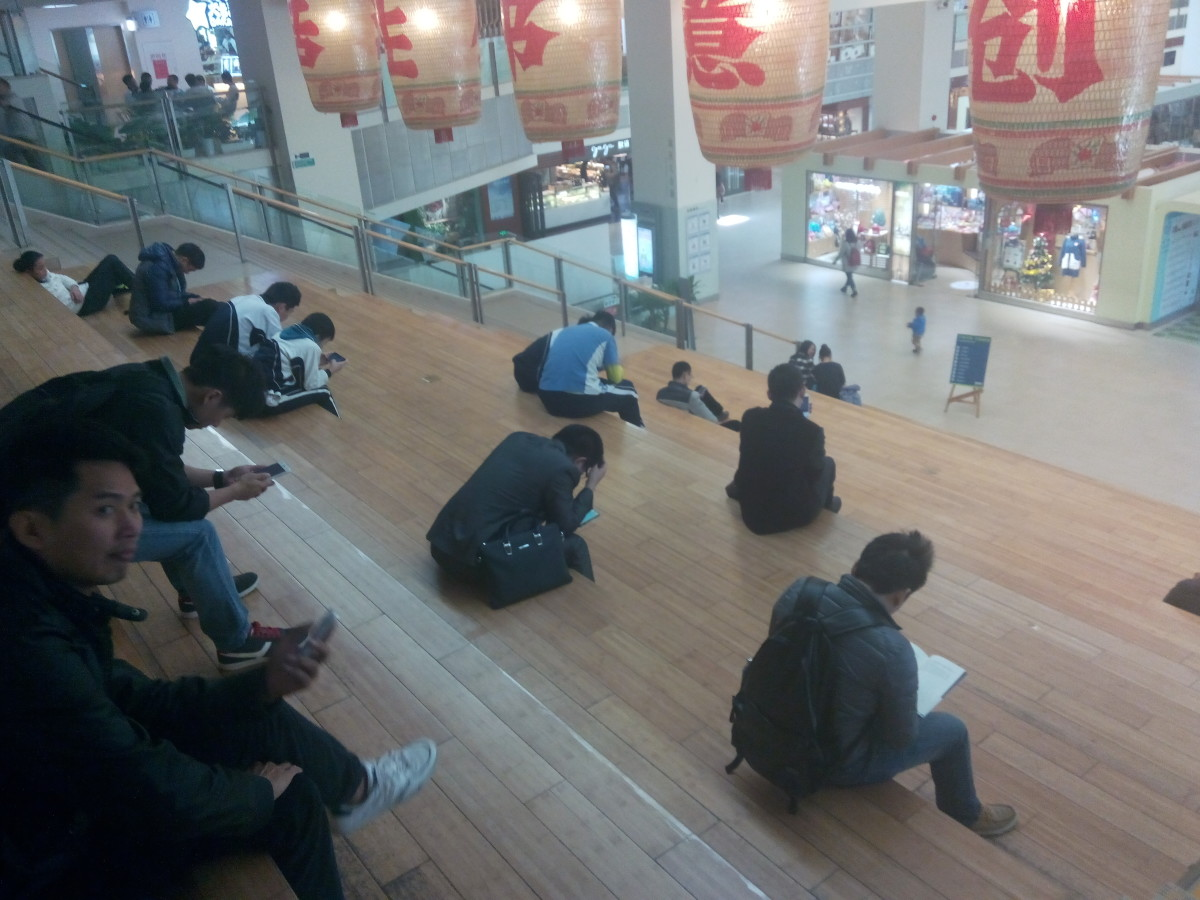Readers relaxing at Book City, Shenzhen