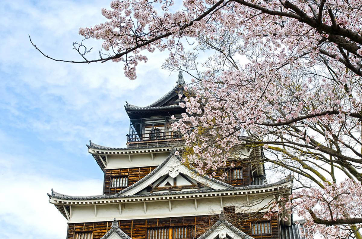 Hiroshima Castle and Sakura blossoms.