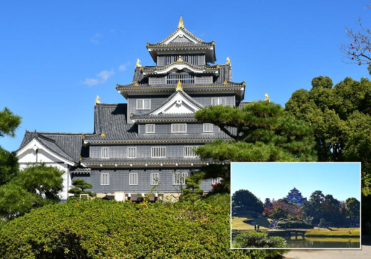 Solemn and stately Okayama Castle.