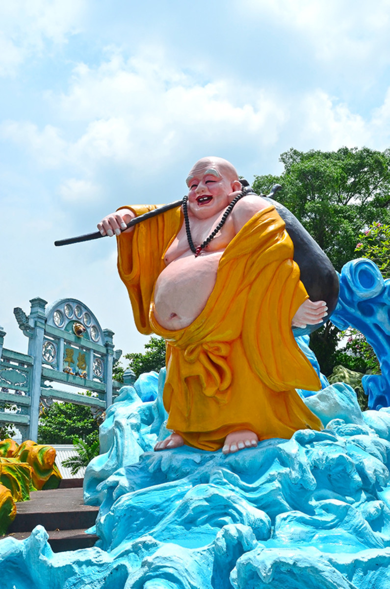 The Chinese version of Maitreya Buddha. A jovial monk with a bag of goodies.