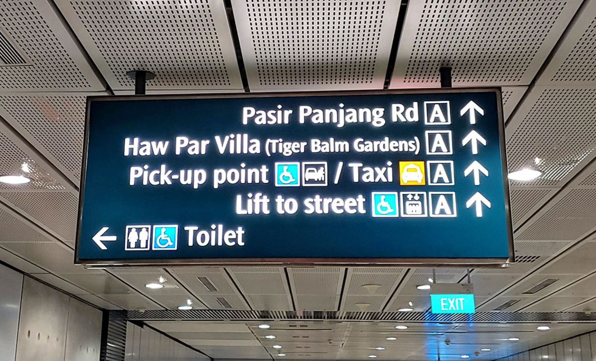 Look for this sign within the MRT station.