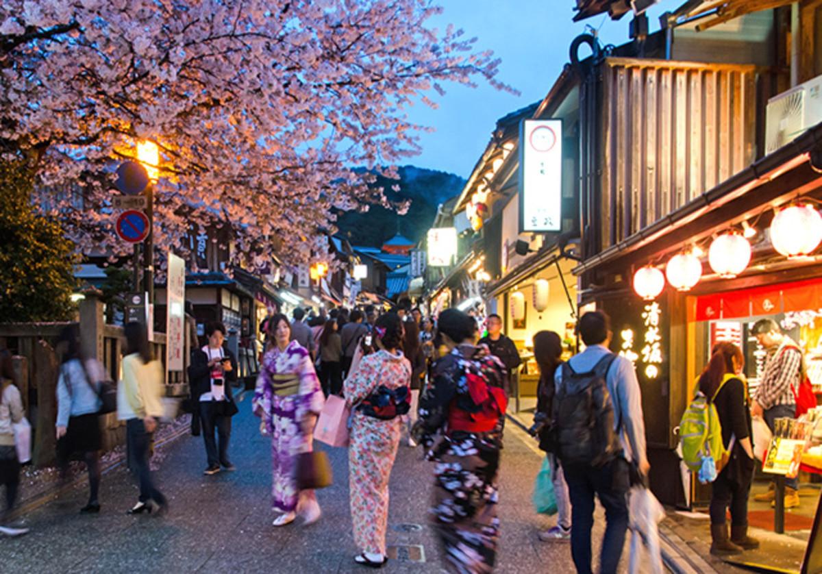 Kyoto's famous Kiyomizu Zaka during the sakura season festive light-up.