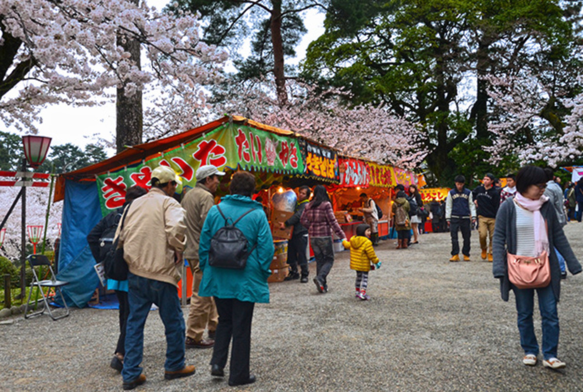 Various Japanese street foods for hungry Sakura lovers.