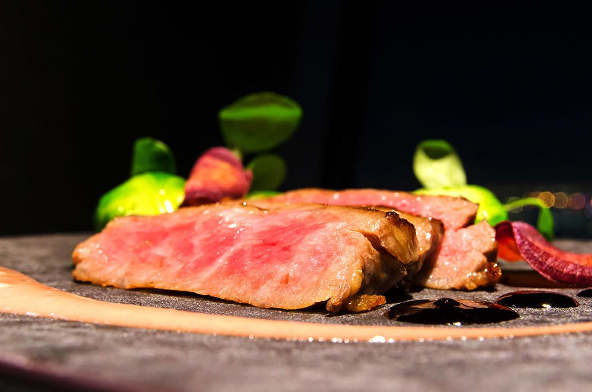A gourmet dinner of wagyu beef.