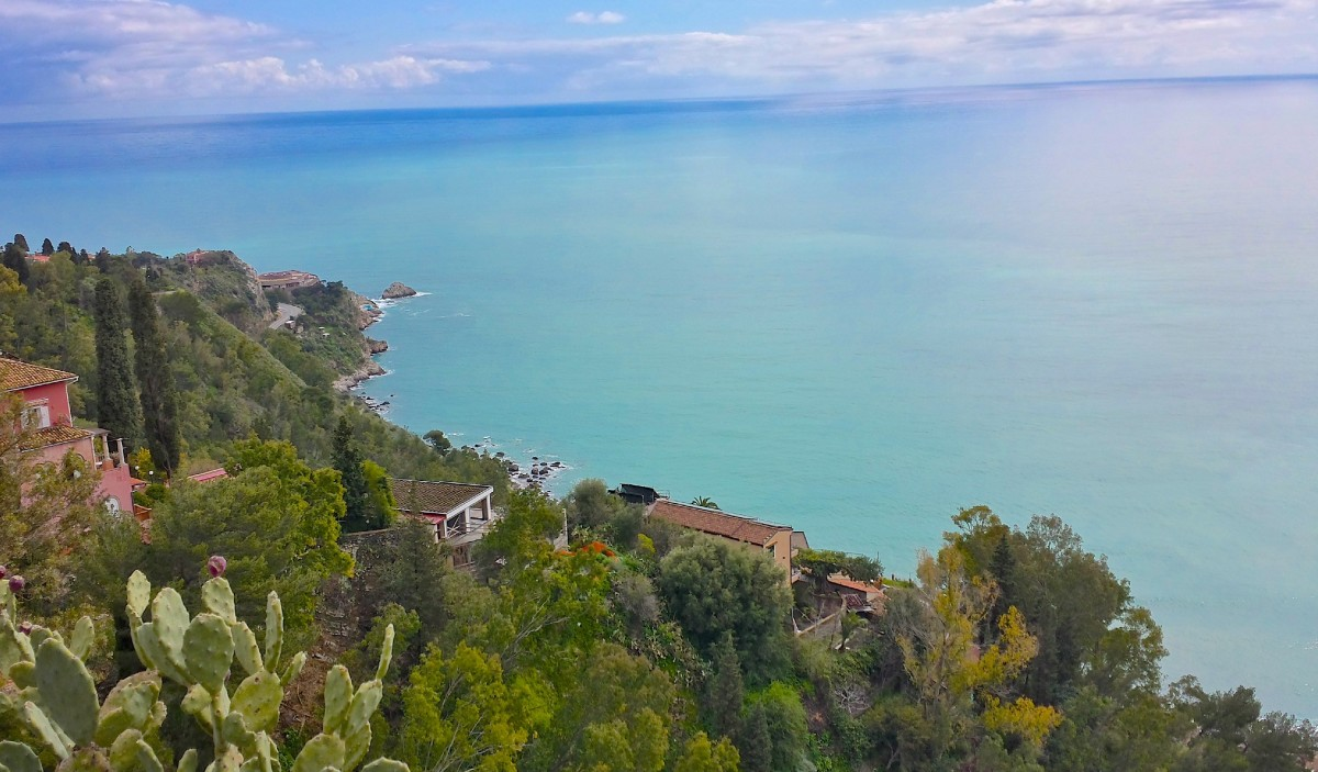 Dazzling Mediterranean coastline views, with pebble sand beaches a short gondola ride down the hillside