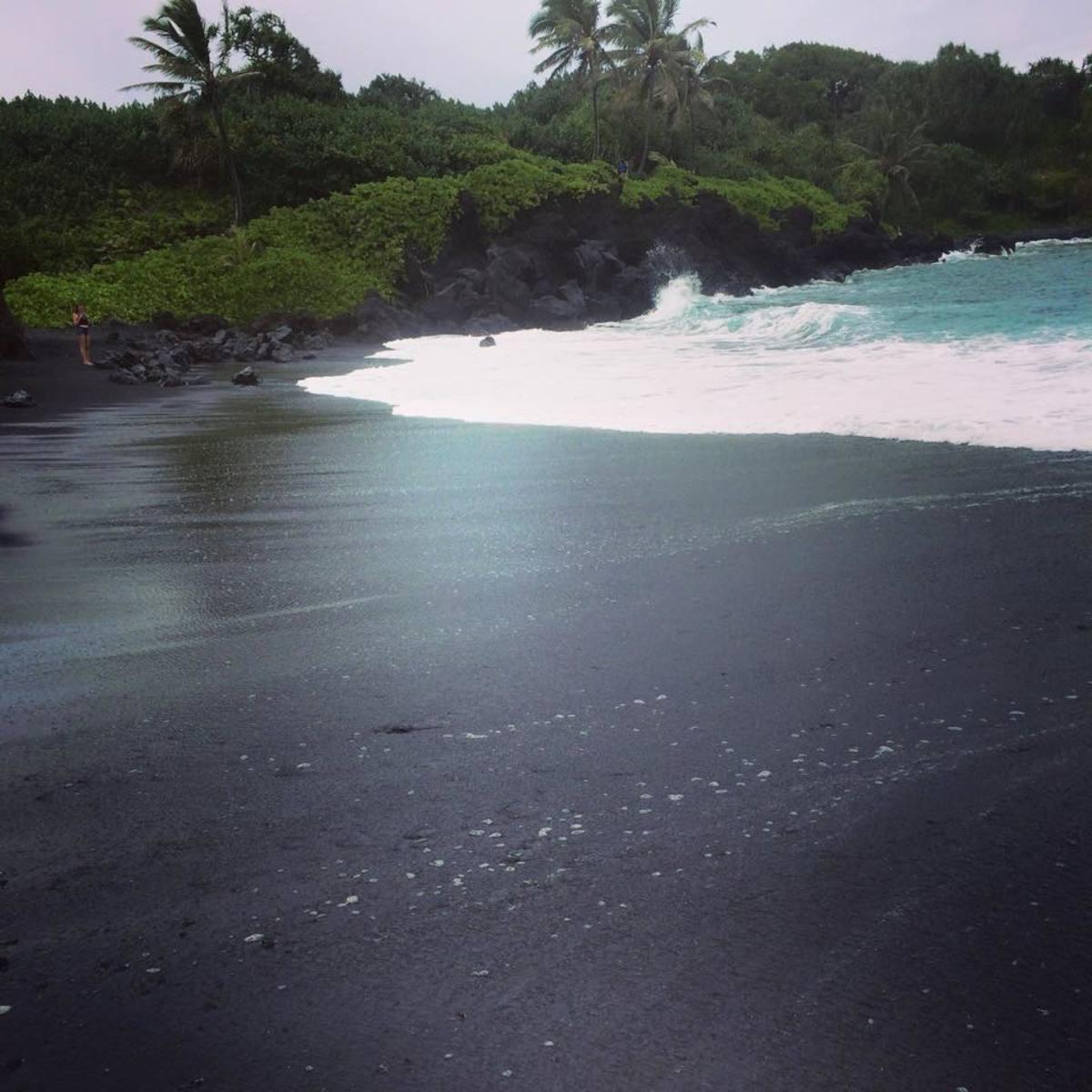 Black sand beach!