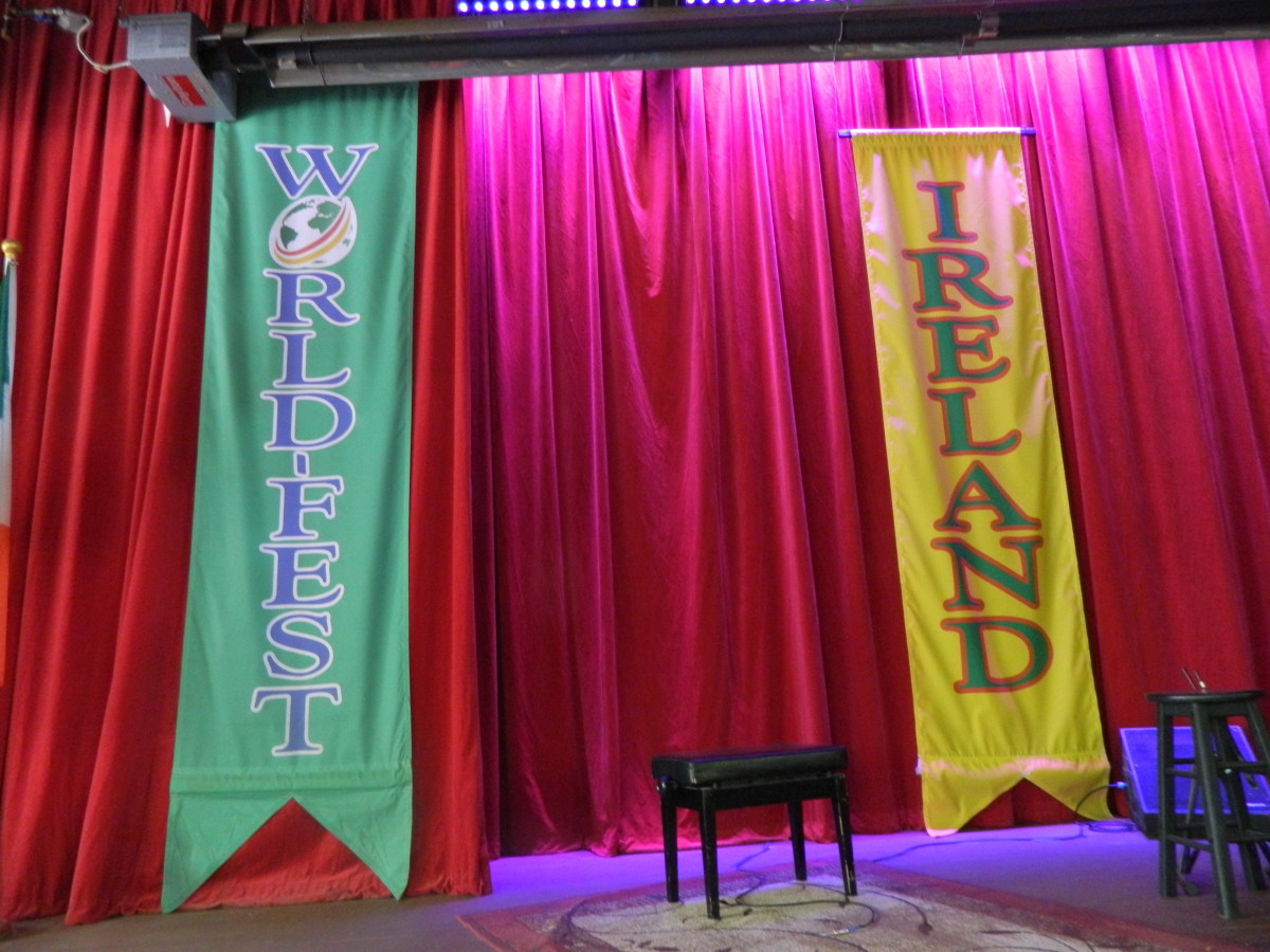 World Fest and Ireland banners