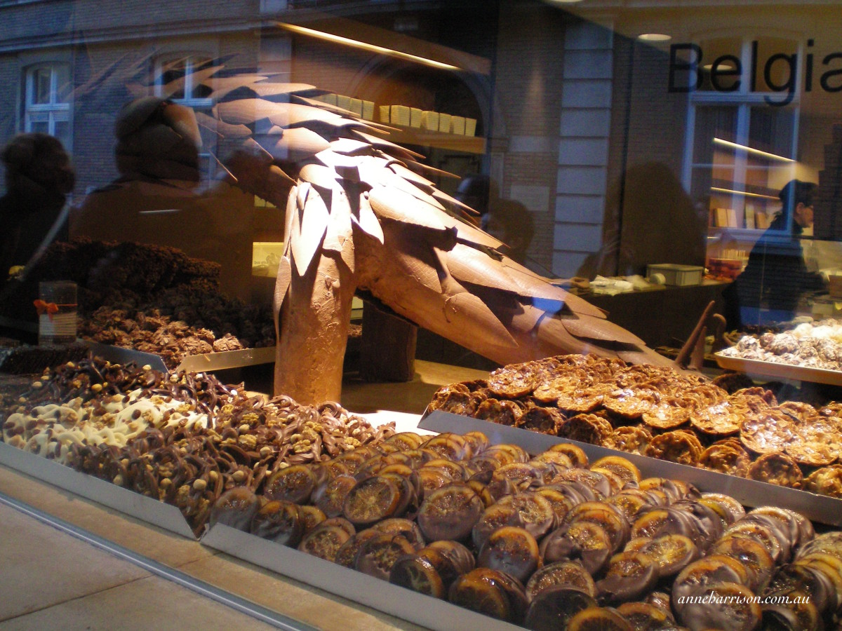 A window display in one of the many chocolate shops