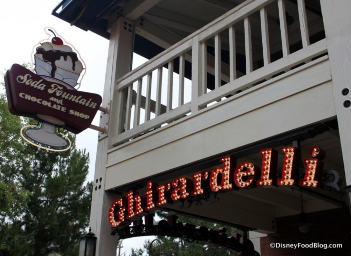 Located in Disney's California Adventure (where the tortilla factory used to be), Ghirardelli Ice Cream and Soda Fountain is a popular dessert destination in the parks.
