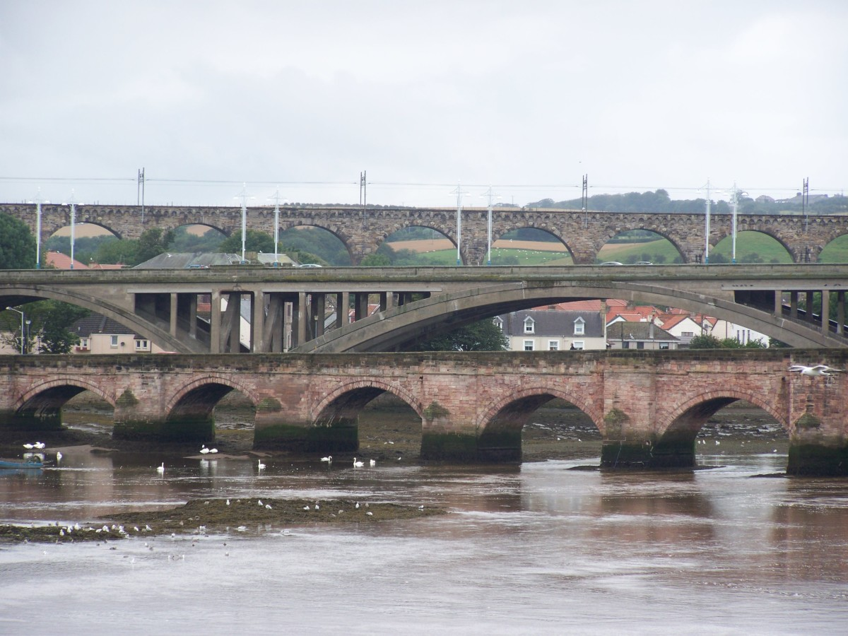 Multiple Bridges crossing the River Tweed in Berwick-upon-Tweed.