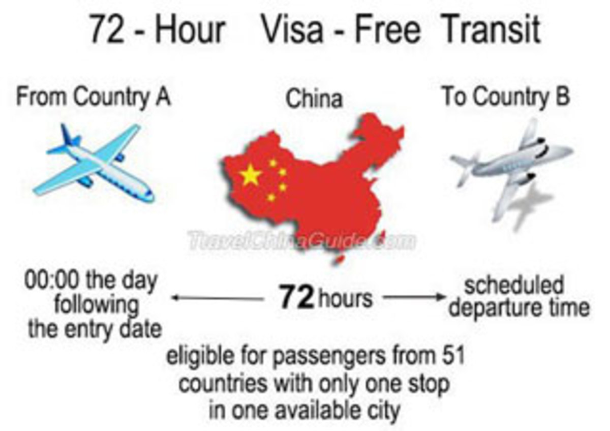 The process when using a 72 hour visa free transit through China.