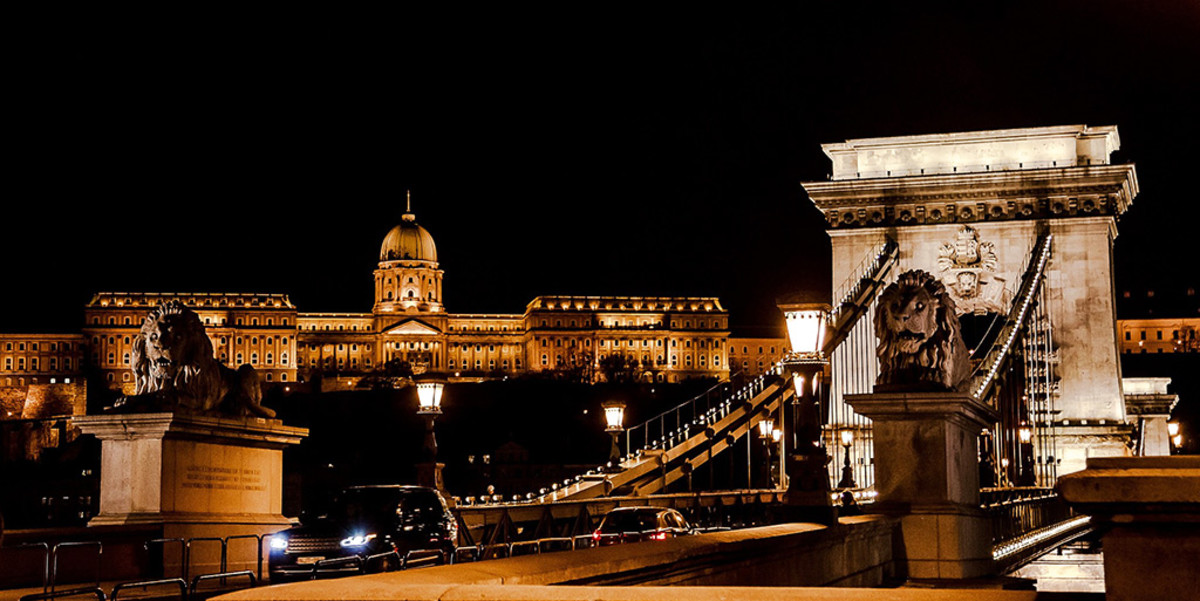 Two icons of Budapest. The Chain Bridge and Budapest Castle.
