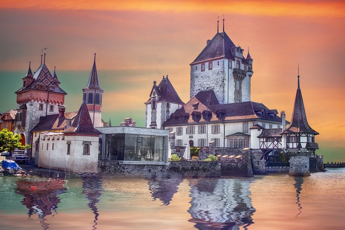 Oberhofen, a game-perfect jewel beside Switzerland's Lake Thun.