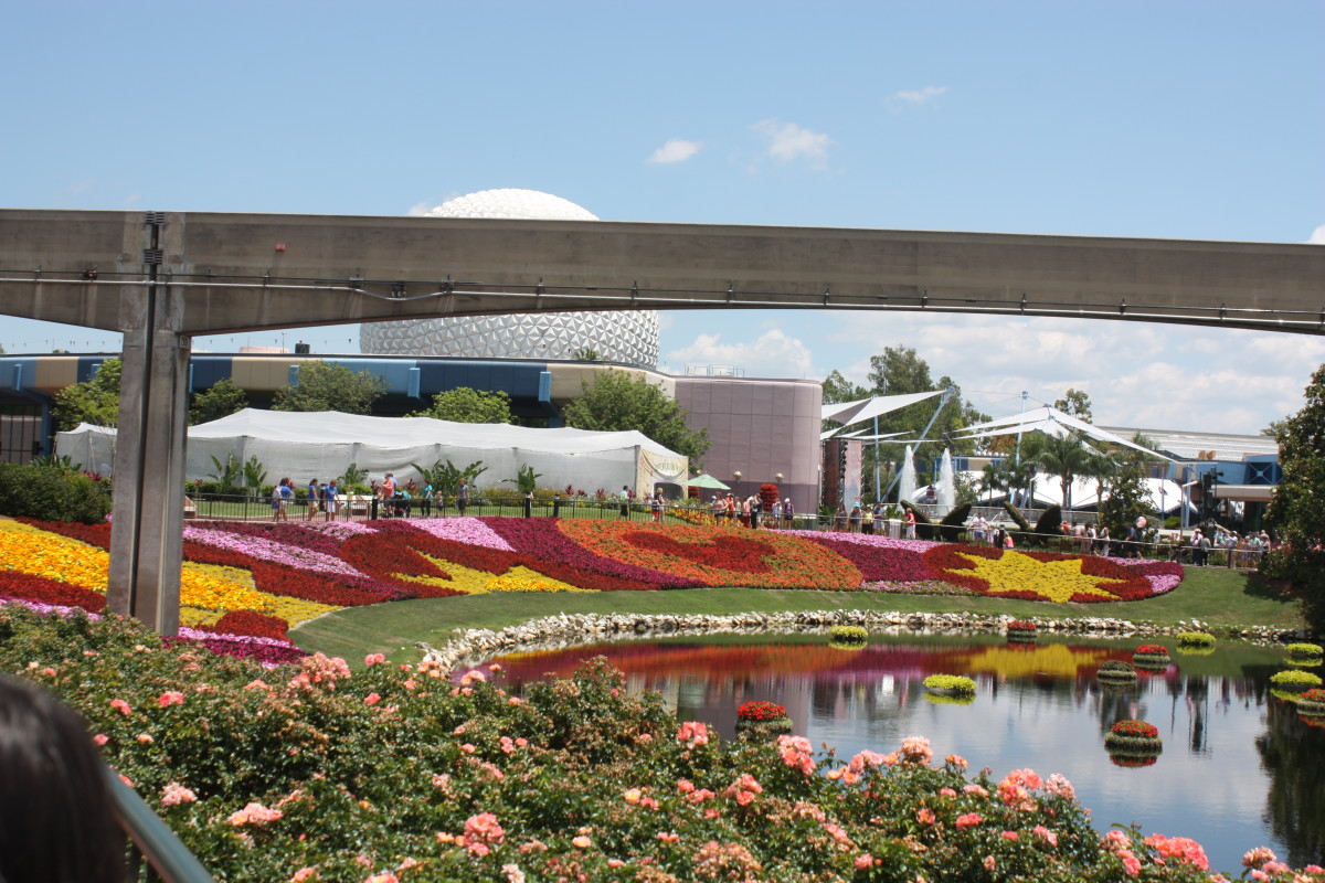 Epcot with beautiful flowers during the Flower and Garden Festival