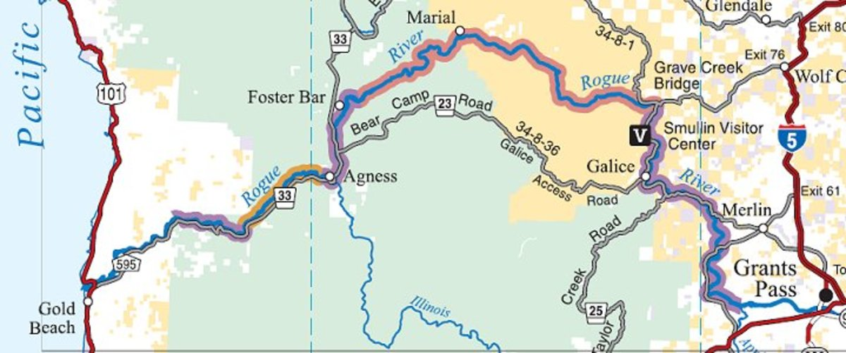 Bear Camp Road running parallel to Rogue River (see the line to the south of the river)
