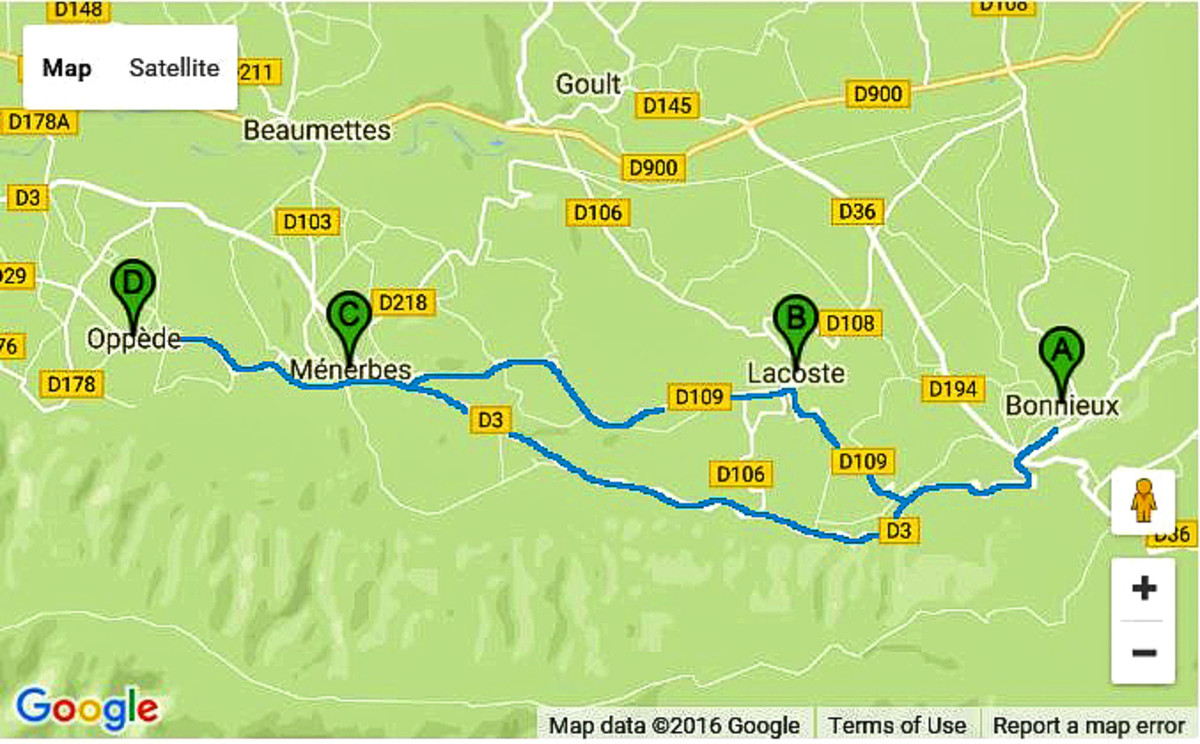 """Biking route for """"The route of the perching castles""""."""