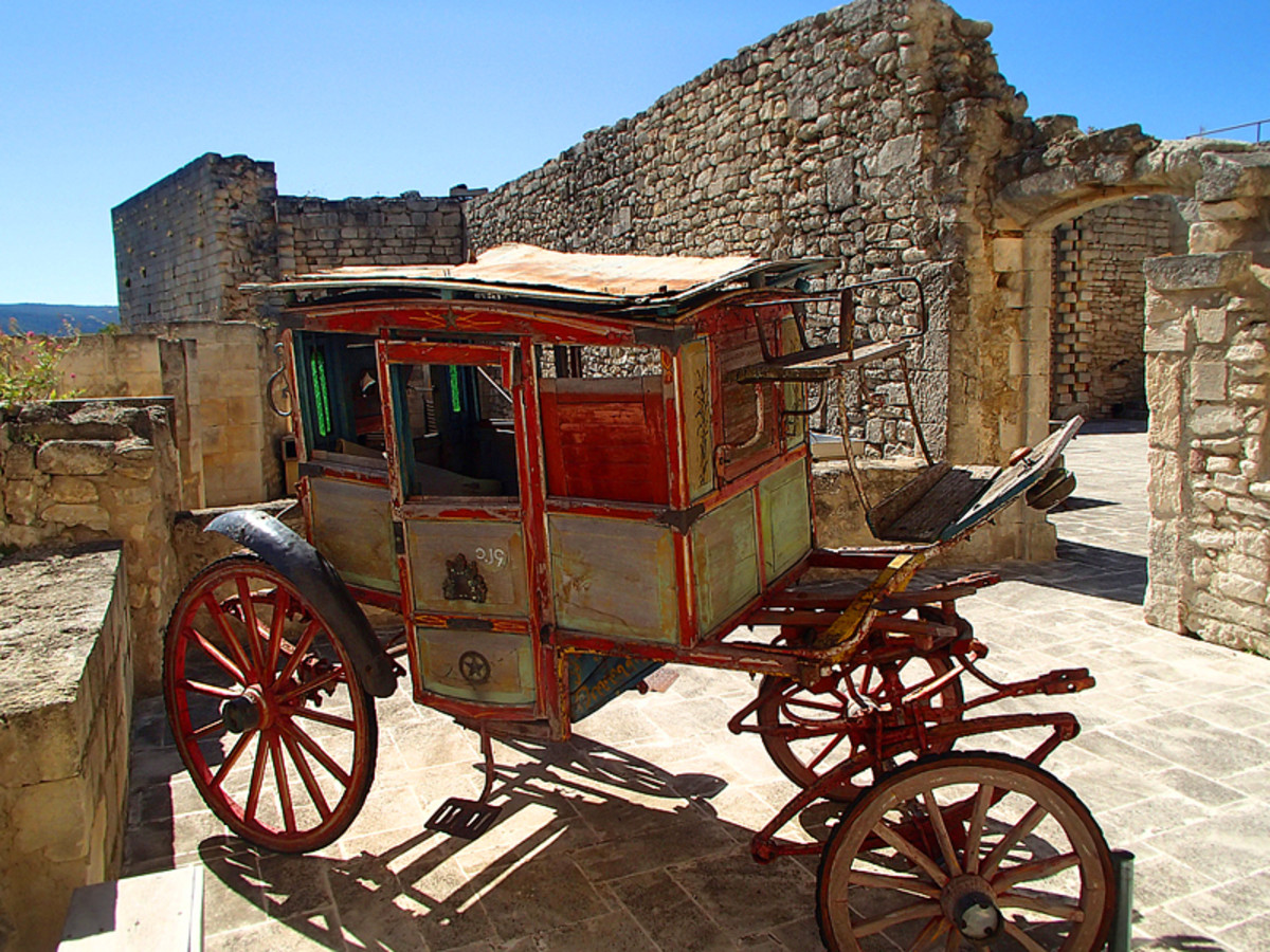 Another mode of transportation of another time: antique carriage at Marquis de Sade Castle.