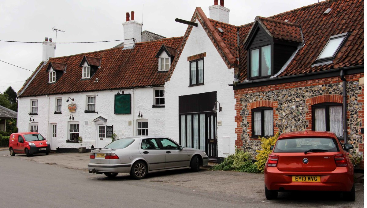 My 17th century hotel in Mundford -  in this part of the world you don't have to visit ruins to be in a place of history. That's my orangy car in the bottom right corner