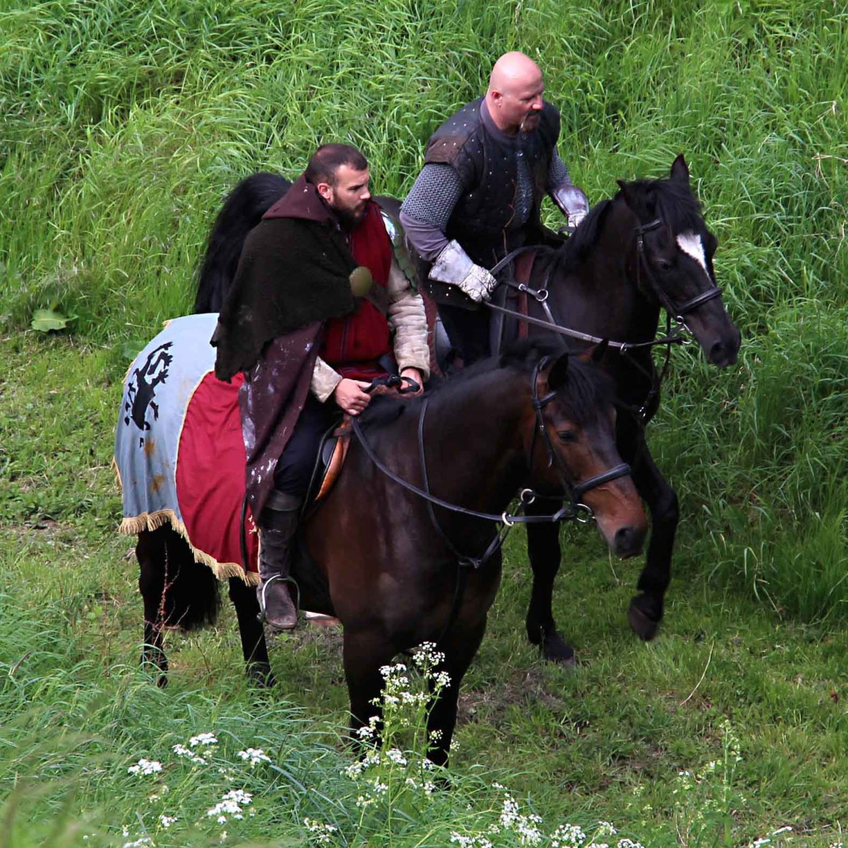 Medieval knights cantering back to the 21st century carpark