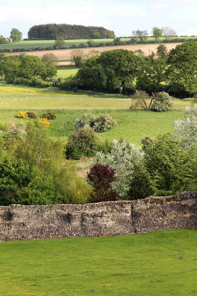 A trip like this is not just about castles; it's also about the English countryside. This is the view across the perimeter wall of the castle grounds