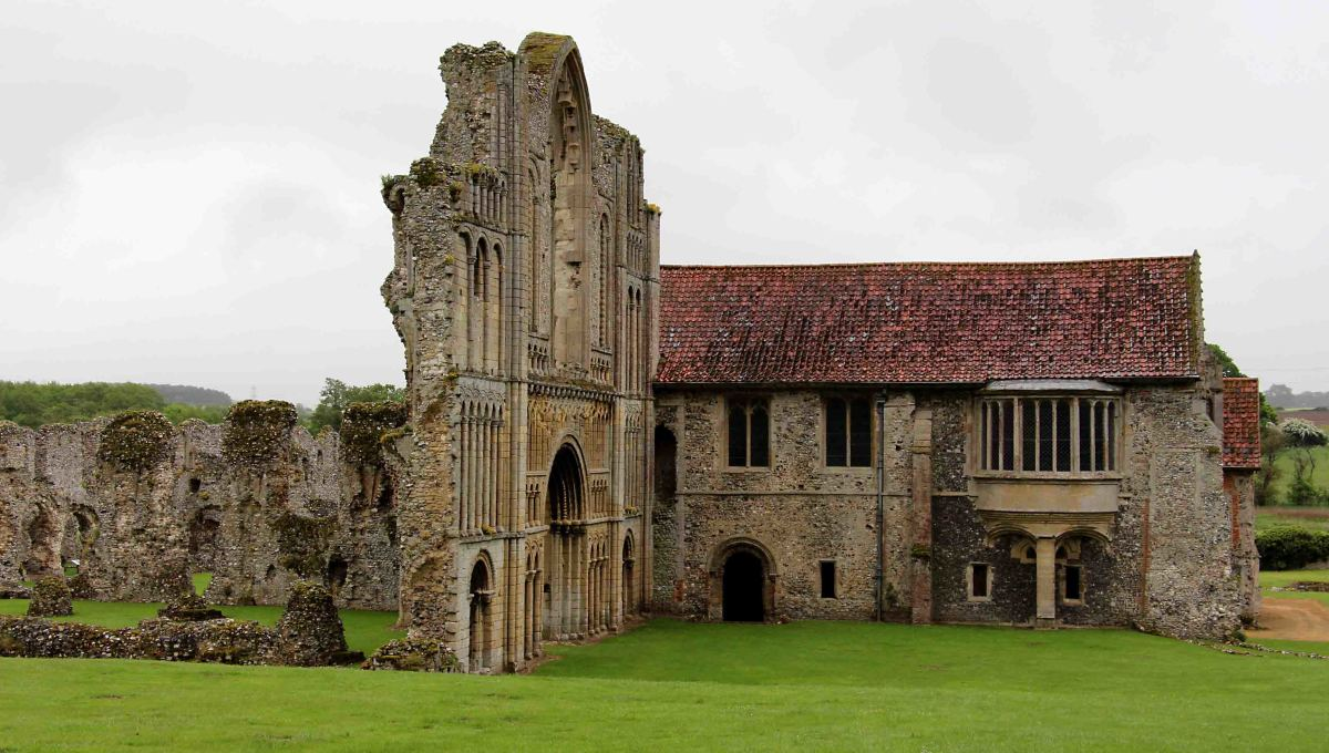 The west front of the church and the prior's lodgings at Castle Acre Priory