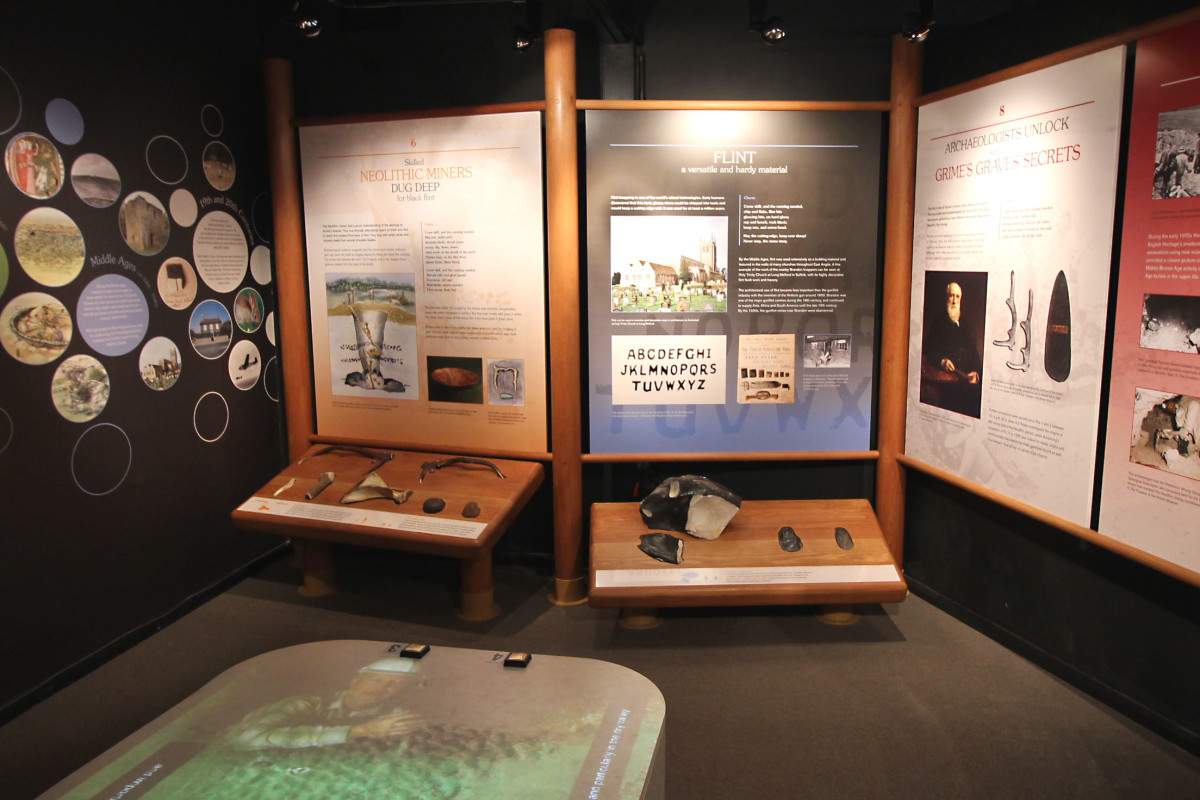 Information and explanations on display at Grime's Graves Visitor Centre