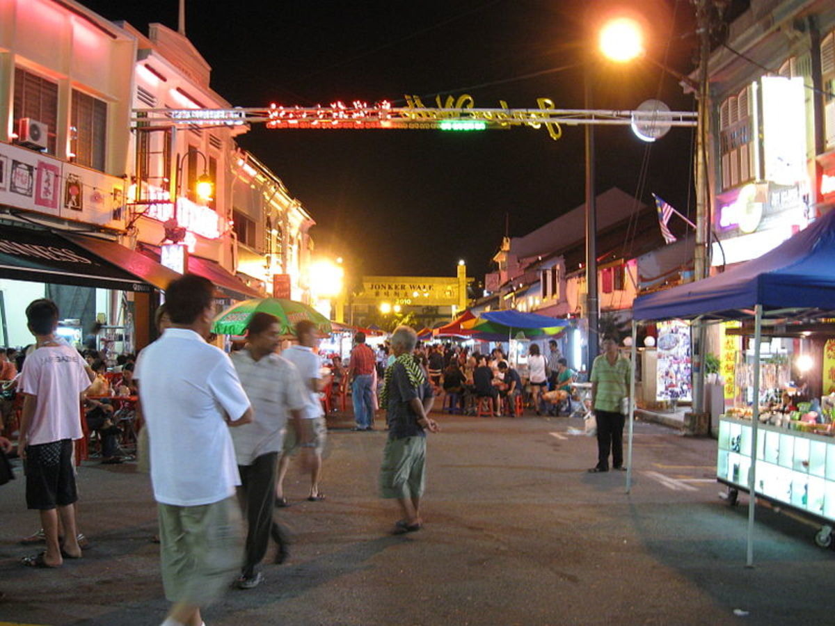 Jonker Walk is a popular night bazaar in downtown Malacca City.