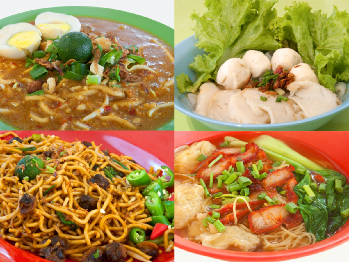 Four ethnic races living together means an astonishing variety of food. Here are four Singaporean ways ot cooking noodles. Clockwise from top left: Mee rebus, Teochew fish ball noodles, Mee goreng, and Wanton noodles.