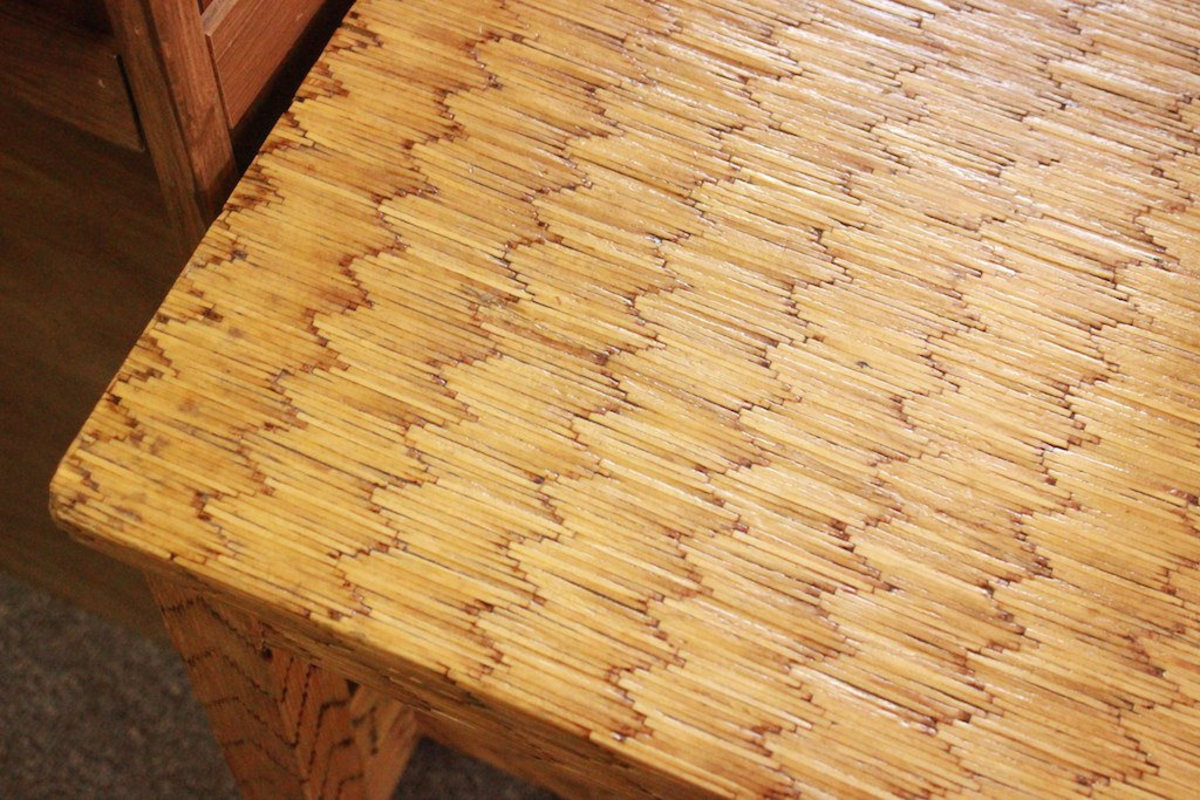 Detail of bench made entirely from matchsticks.