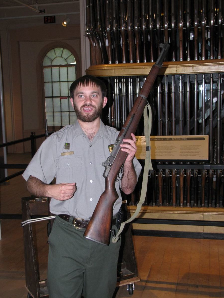 Ranger Robert Holmes with the M1 Garand.