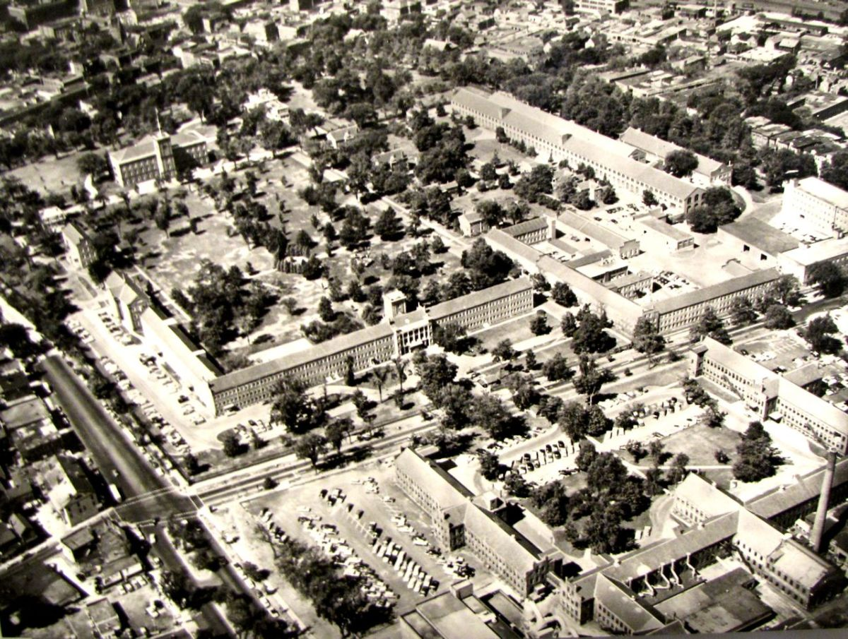 Aerial photo of the Hillshops.  The museum is the building top left.
