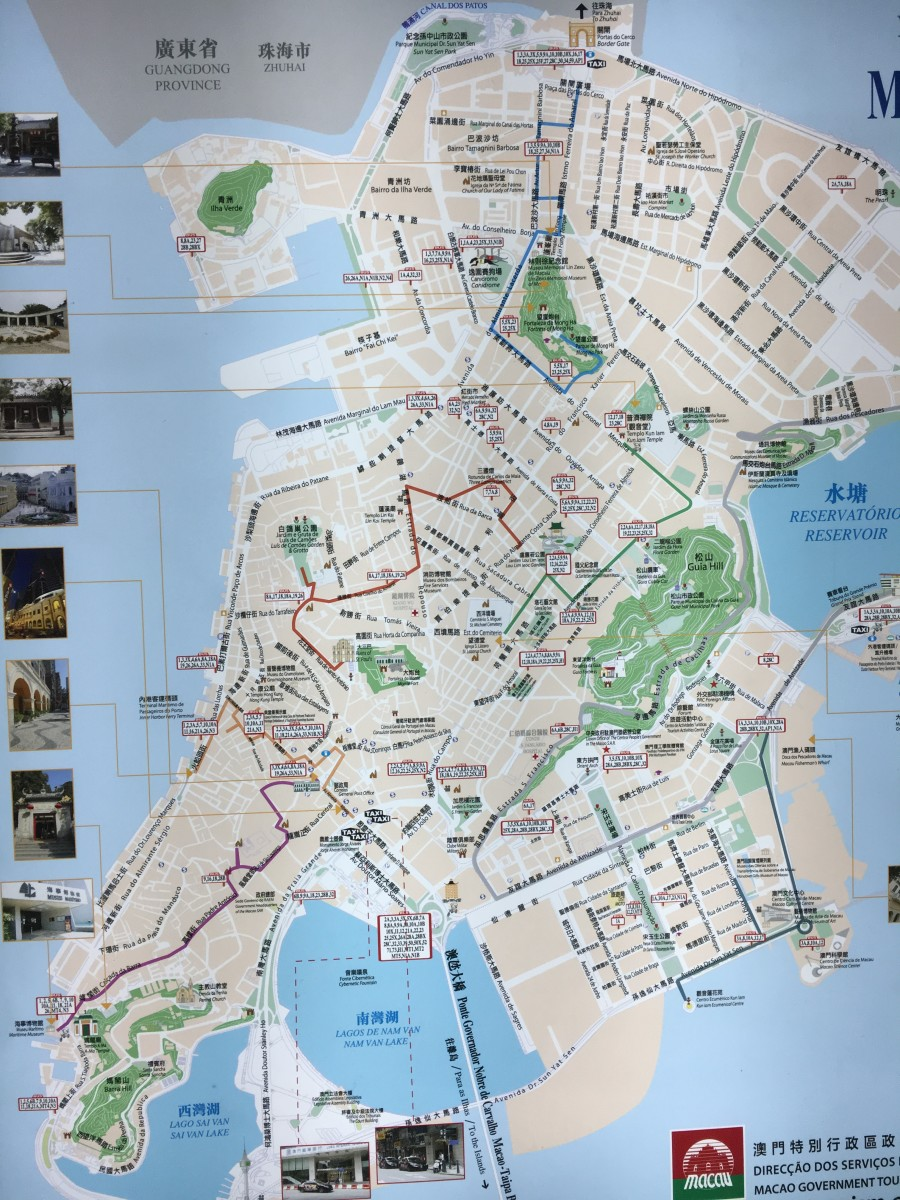 Map of Macau from a street sign board