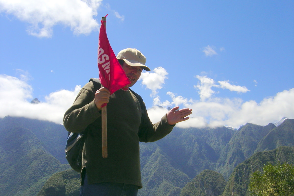 Our guide through Machu Picchu, Cosme Cuba, a trilingual Quechua Indian, a very interesting man who has published a book about the site.