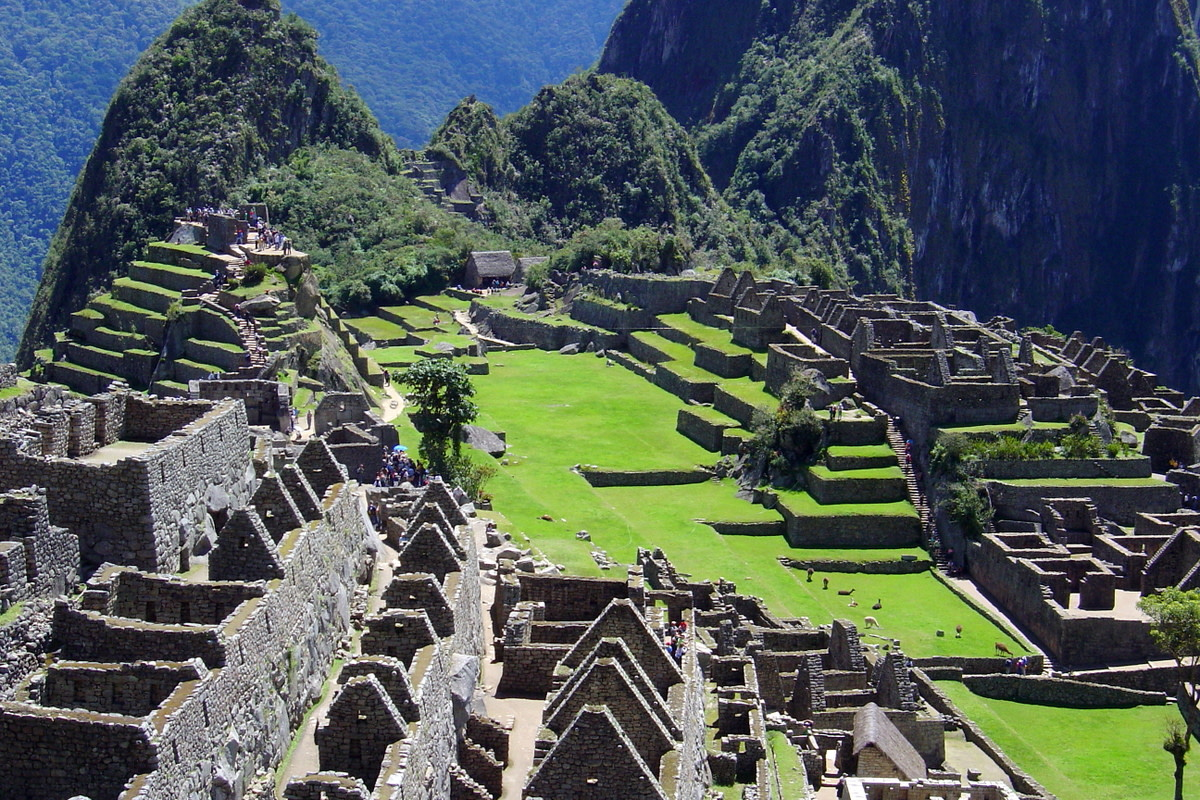 Looking down into the spectacular ruins of Machu Picchu.