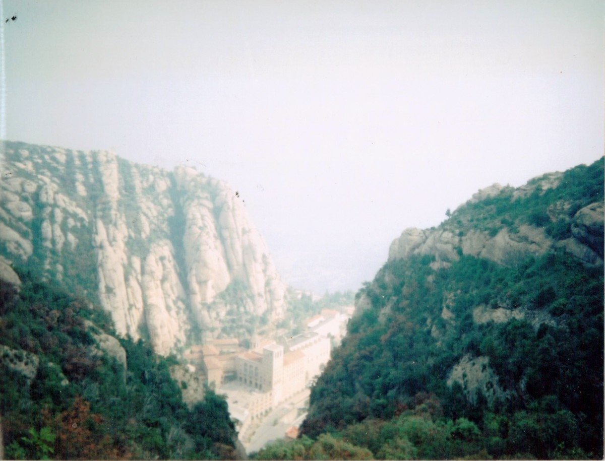 Looking down on the basilica and visitor centre from the Holy Cave at Montserrat