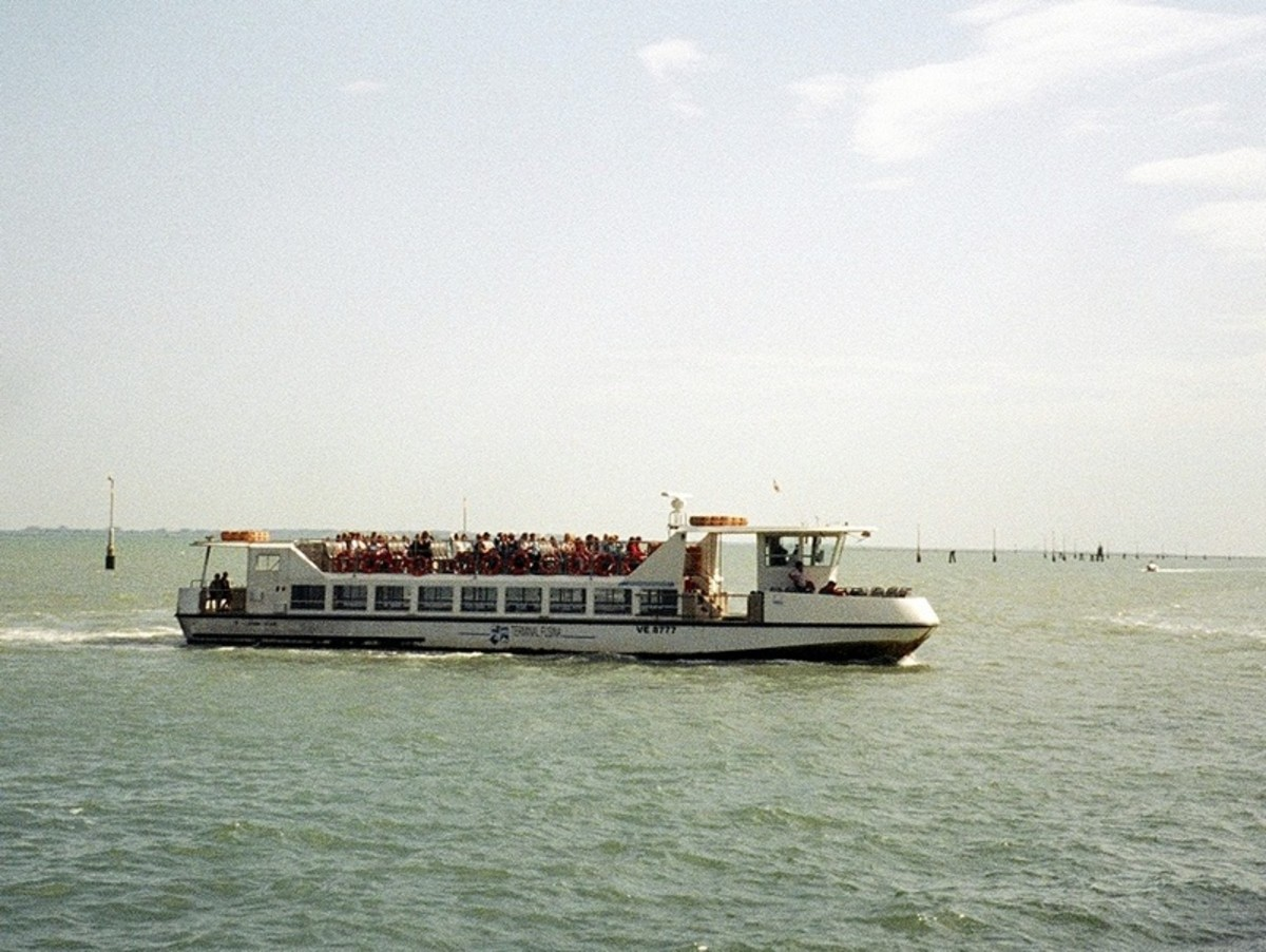 A small ferry, or vaporetto, takes visitors from a campground north of the city across the lagoon into Venice proper.
