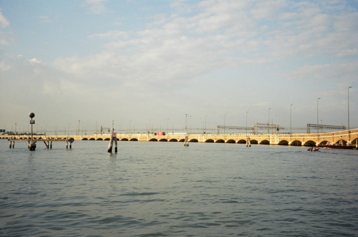 The causeway on the northwest corner of the island where the city of Venice stands brings trains, trucks, cars, buses and other motorized traffic from the mainland to the edge of the city, where they'll all be parked, outside the city proper.