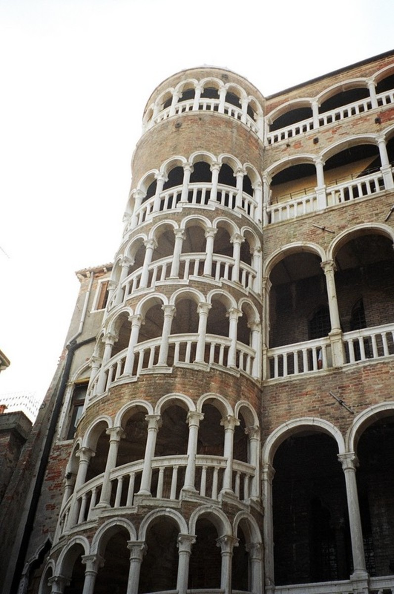 """This spiral staircase is called """"Scala Contarini del Bovalo."""" The word """"bovalo"""" means """"snail"""" in Italian. The unique staircase connects the floors of the small Contarini palace near the Rialto Bridge."""