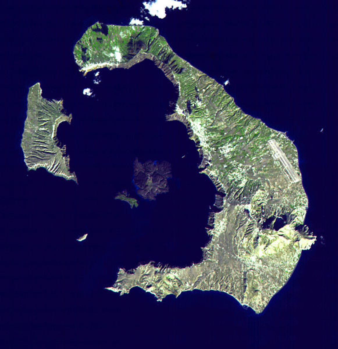 Santorini's ring of islands, you can clearly see the shape of the volcano