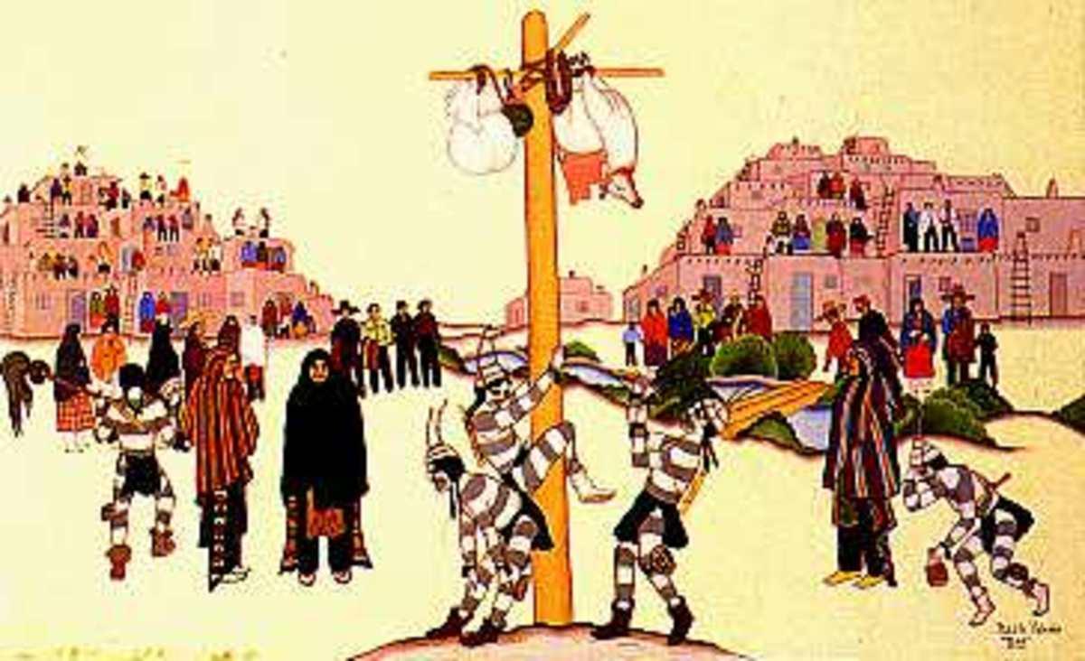 San Geronimo clowns climbing the pole.