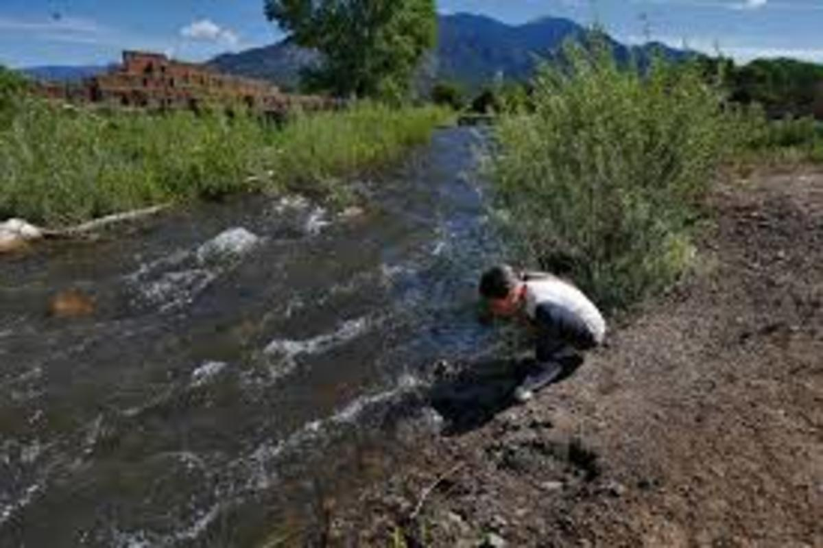 Red Willow River (drinking water on the pueblo) with pueblo and Taos mountains in the background.