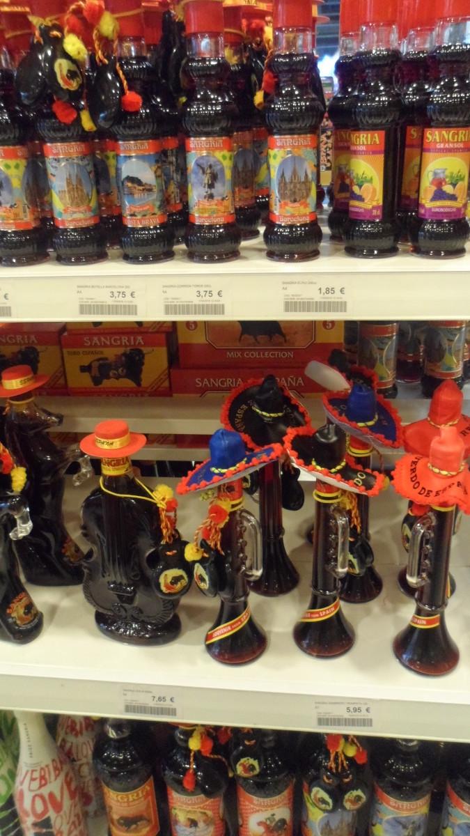 Shelves of Sangria in a Spanish Souvenir Shop!
