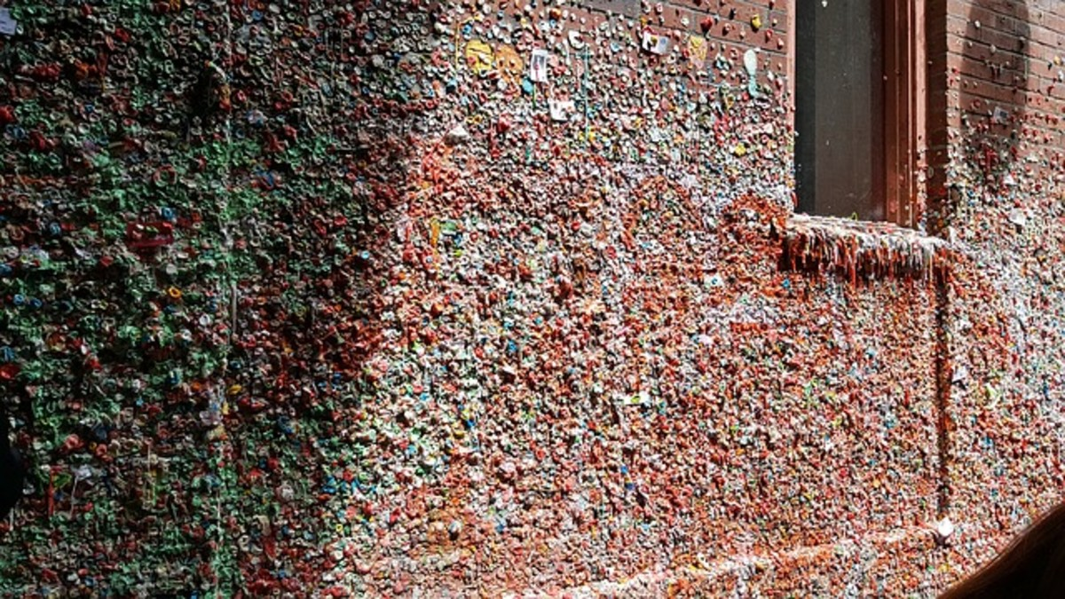 Hidden under the main level of Pike Place Market is Seattle's notoriously germy crowdsourced art installation - the gum wall. It's a great place for a pic and the only acceptable noncomposted compostable waste.