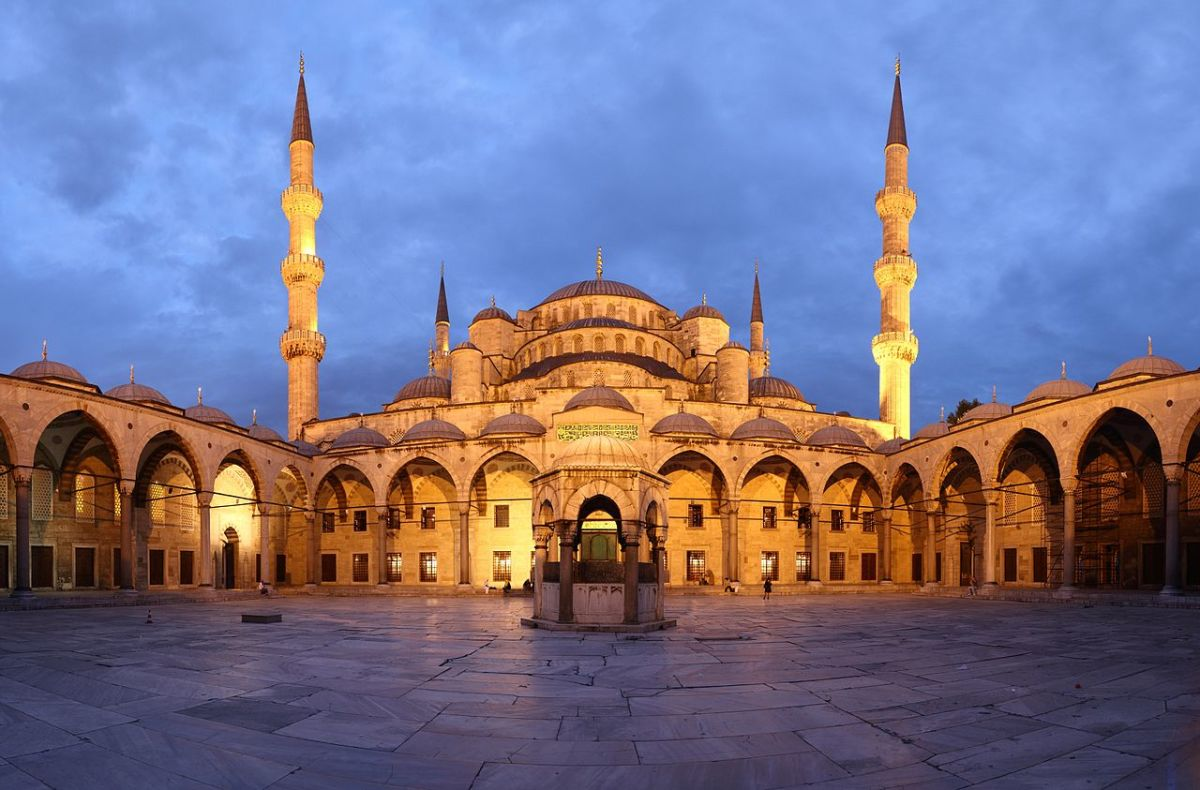 Panorama of the Blue Mosque at sunset, in Istanbul, Turkey. Sultan Ahmet Mosque.