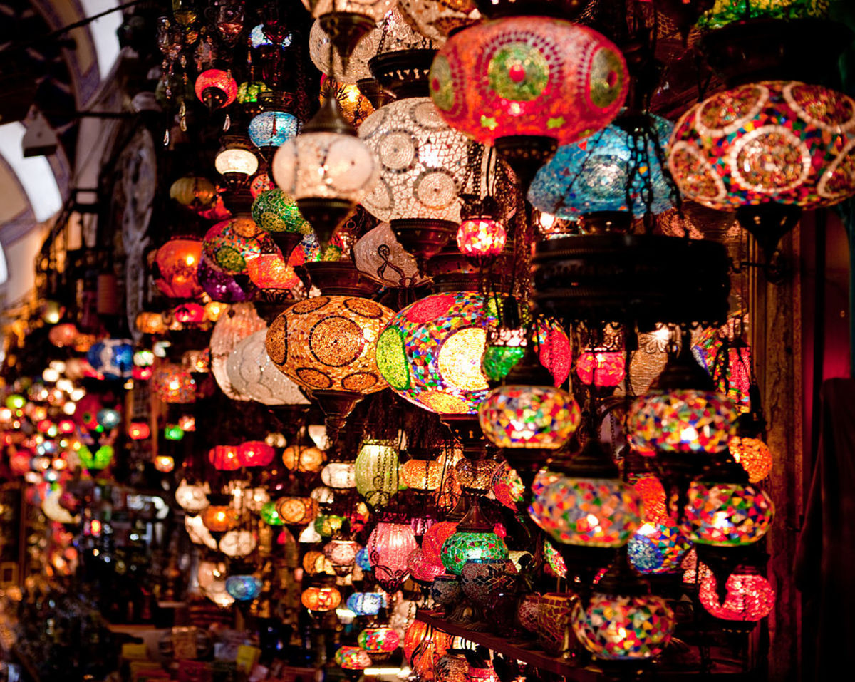 Lanterns in a shop at the Grand Bazaar in Istanbul, Turkey