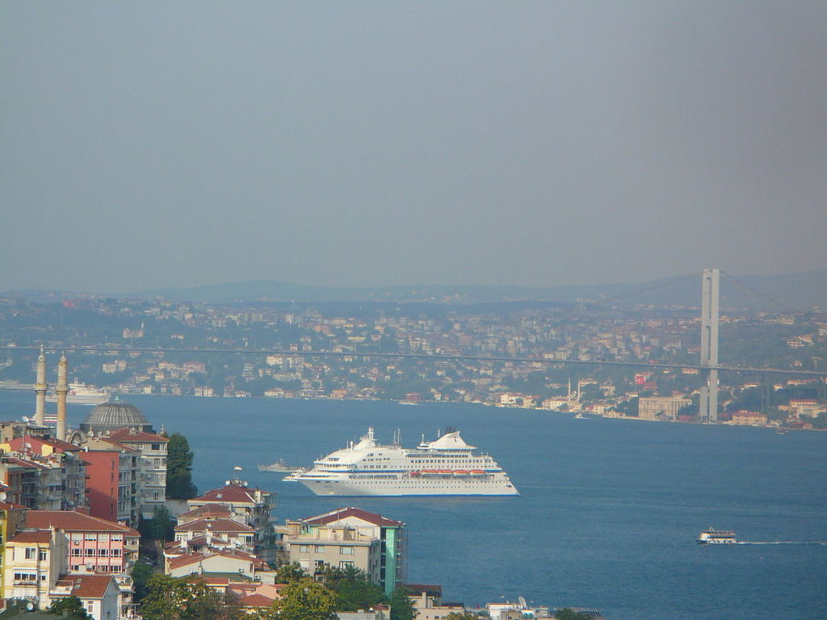 A cruise ship on the Bosphorus strait, in Istanbul, Turkey